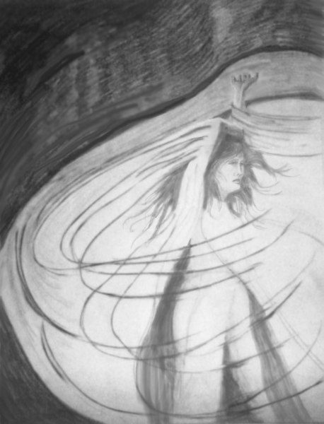 """RESISTING THE VEIL<br /> Graphite on paper<br /> 18' x 24""""<br /> This drawing reflects a feeling I had on my visit to Iran back in 1974.<br /> <br /> In '74 the Shah was still in power and Iran was quite modern. However, women still had to don a """"chador"""" to enter a shrine. Those were the days of Women's Lib in America and wearing a veil went against all my personal philosophies, but I did it anyway because I wanted to see inside the shrine in Meshad."""
