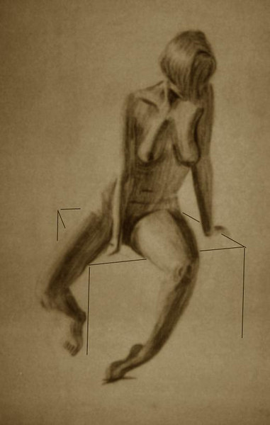 "life drawing - Leslie<br /> charcoal on paper<br /> 18"" x 30"""