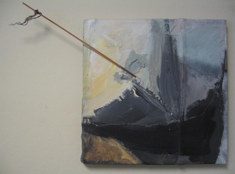 """Shipwreck<br /> acrylic on denim<br /> 12"""" x 12"""""""
