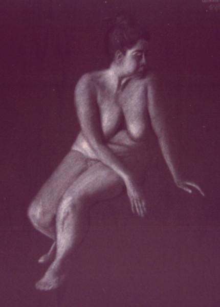 Rosemarie<br /> White charcoal on dark paper