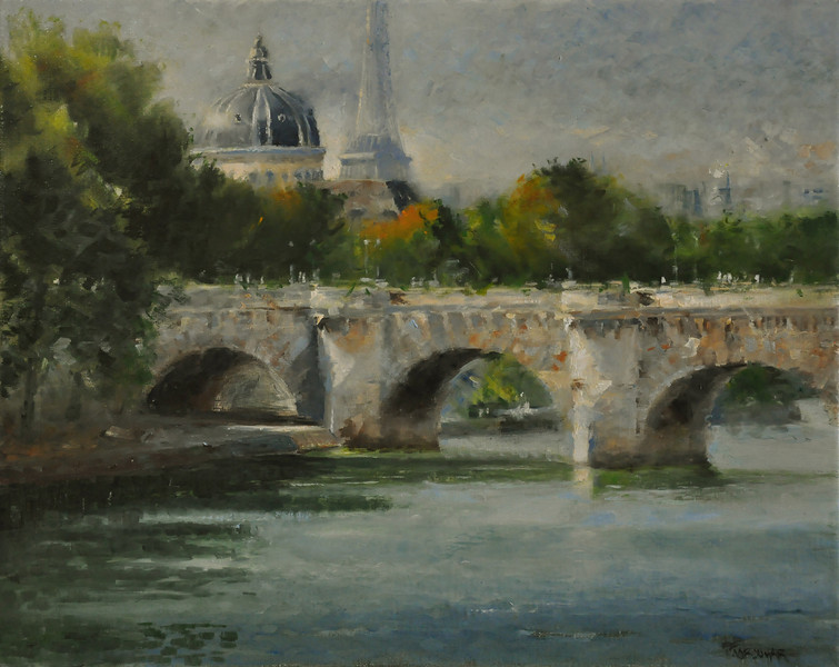 Institu Francais et tour de Eiffel, The light on the bridge, Paris (Paris, France) Oil on Canvas 16X20