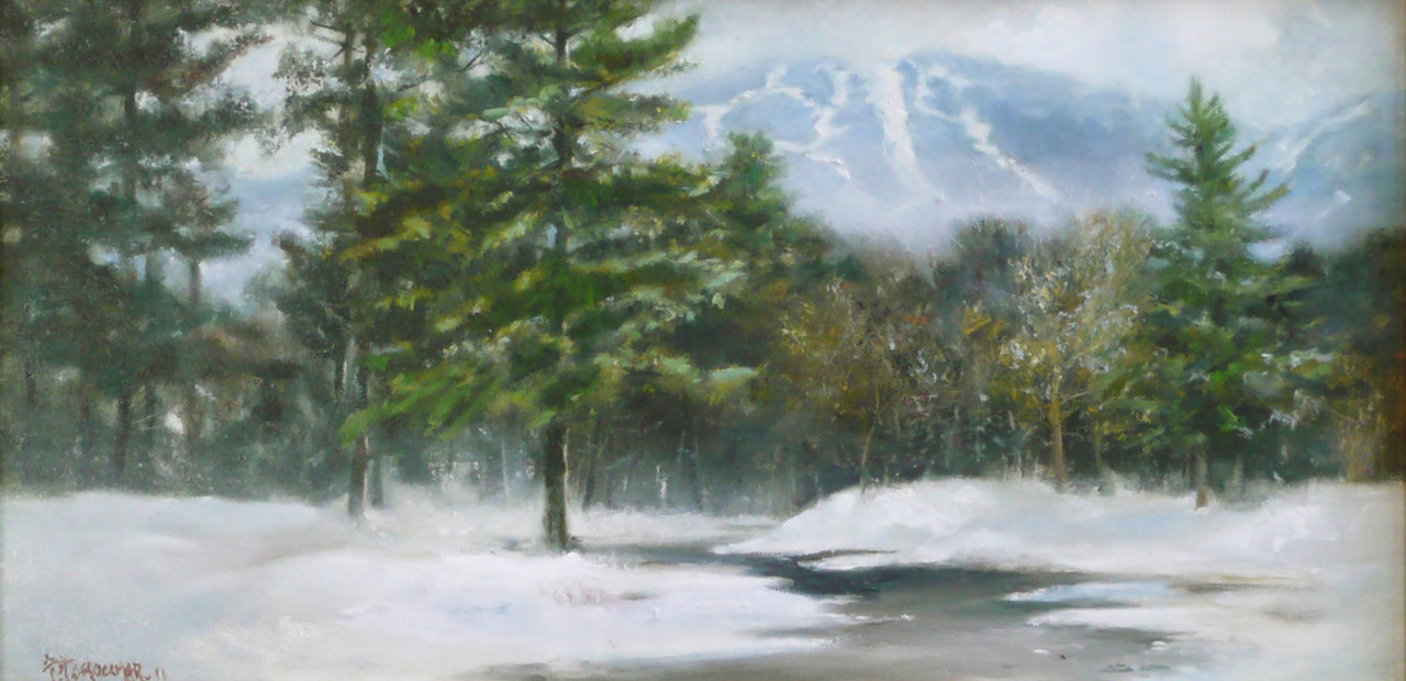 Sky Peak, Killington, March Oil on Canvas 12X24 Ala Prima   Sun Breaking through The morning mist Sky Peak rise; above the fog Fresh From last night's snow.