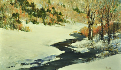 SOLD, Glow of Winter Sun, Oil on Linen, 18x30
