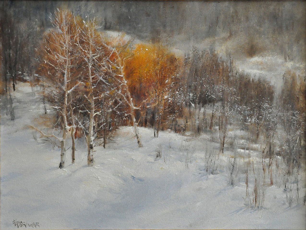SOLD;  Morning Walk in Snow (Steam Boat CO) Oil on Linen 18x24 Awards: Finalist, 2013 Salon Exhibition, Art Renewal Center Meritorious Award for Landscape Painting Rockport Art Association, 2014.