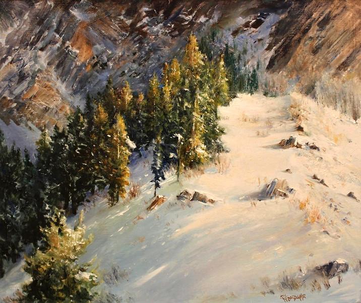 SOLD.  Symphony of Light in mountain Pines (Little Cottonwood Canyon, UT) Oil on Linene 20x24  Awards: Finalist 2015 International Salon Exhibition, ARC Bold Brush Jury's Favorit (FAV15%) Award, August 2015
