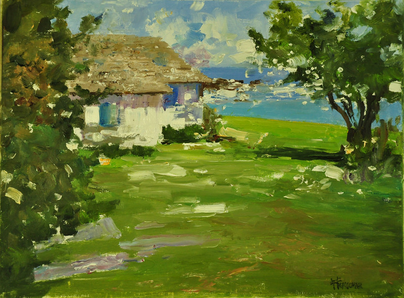 The Ocean House, Gloucester MA, Oil on Archival Linen Brd, 12x16