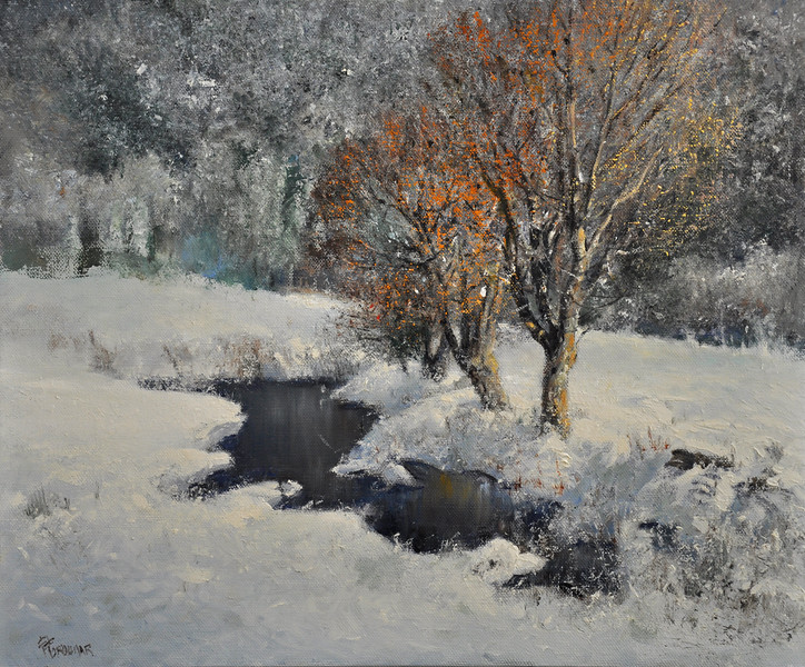 SOLD, Snow Fall at Killington, VT; Oil on Linen; 18x24