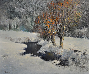 SOLD, Snow Fall at Killington, VT; Oil on Linen; 18x24