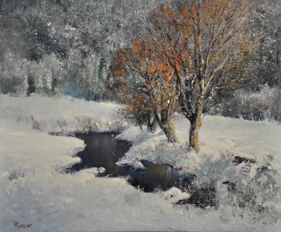 Snow Fall at Killington, VT; Oil on Linen; 18x24