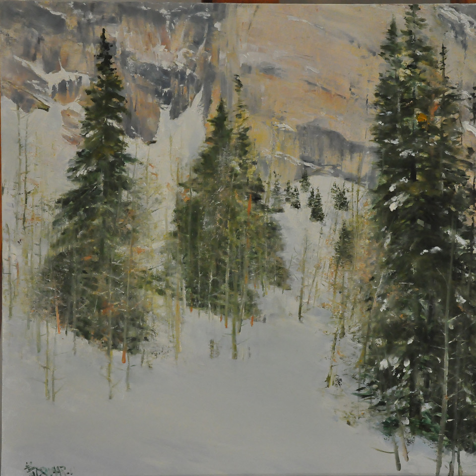 Among the Pine Trees in Deep Snow (Little Cottonwood Canyon, UT, Snowbird, May 2011) Oil on Canvas 18X18  Among the pines In deep snow,  Steep slope Approaching the foothill  Of a magnificent cliff; flirting  Behind the veil of Aspen saplings Farther than it looks.