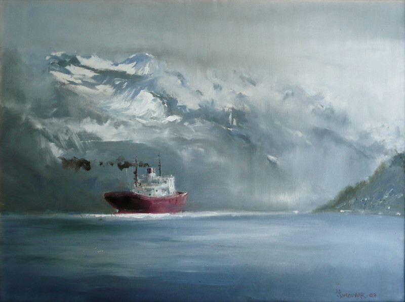 Heading into Unknown, Glacier Bay, Alaska, June Oil on Canvas 16X20