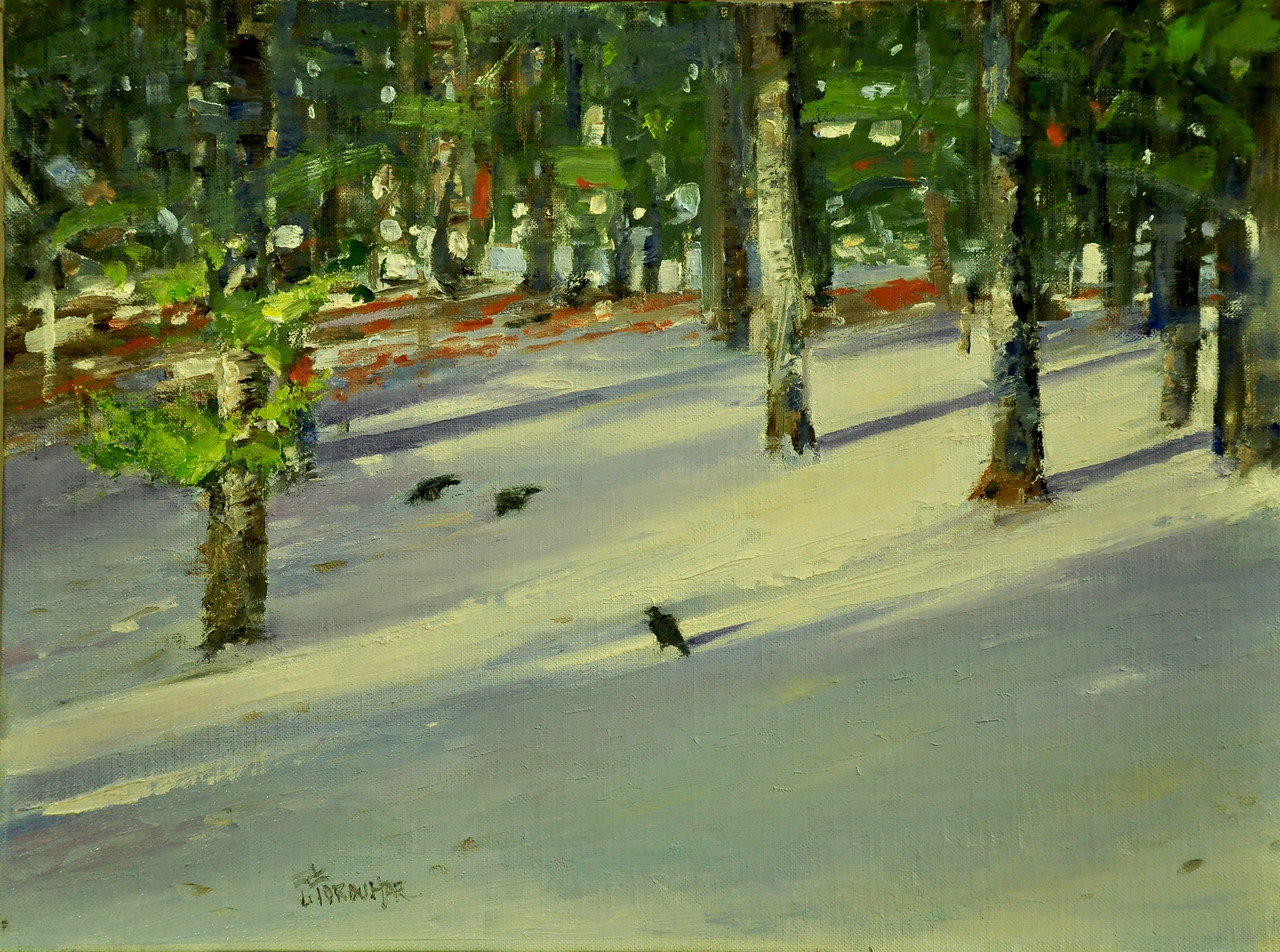 Crows and Snow; Oil on Adchival Linen Board, 12x16