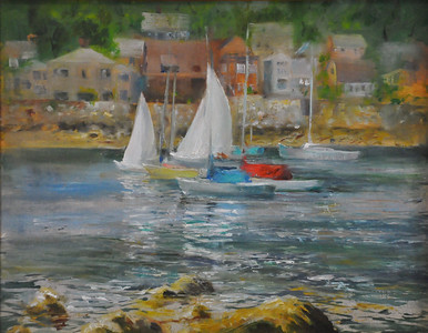 SOLD; Inner Harbor, Rockport Oil on Canvas Board 11X14 (Rockport, MA) Plein Aire, Ala prima  SOLD