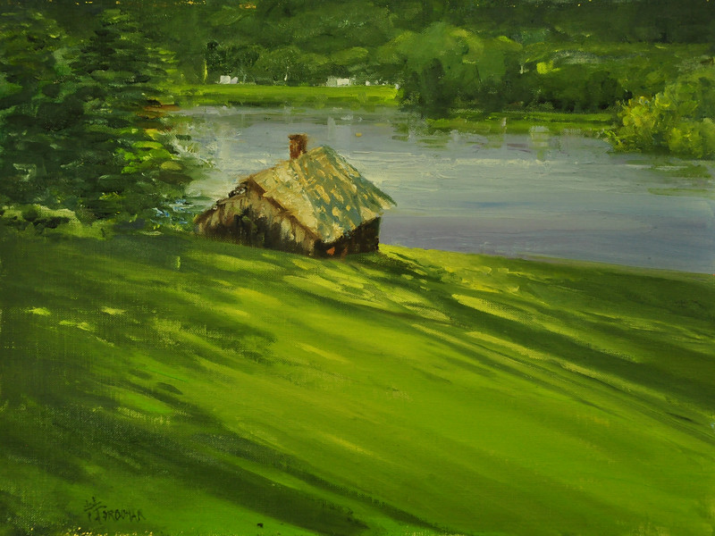 The Barn on Mystic Bay, Oil on Archival Linen Brd, 12x16