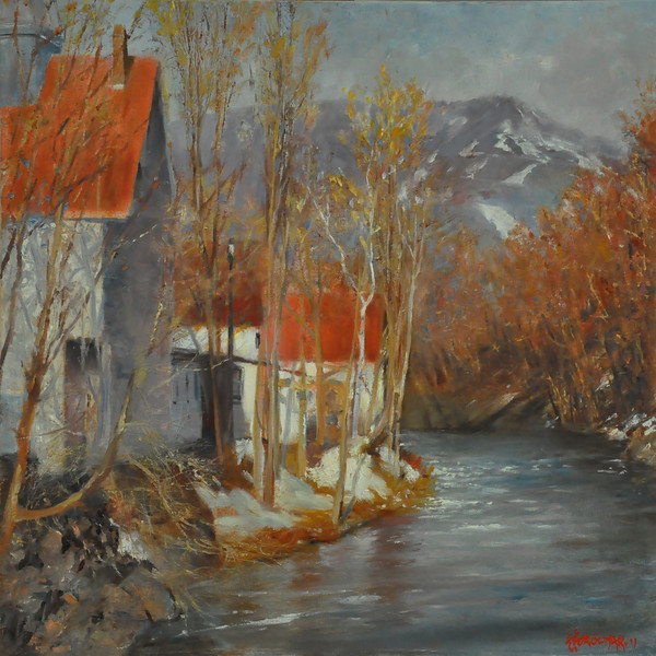 SOLD;  Over the Ludlow Bridge, VT Oil on Canvas 20X20  Mountain stays aloof,  Melting snow Cry Light is changing  But still shy Water flow; High Still numbing;  cold But snow Trying to hold In the face of spring leave buds That echo the red roof glow.