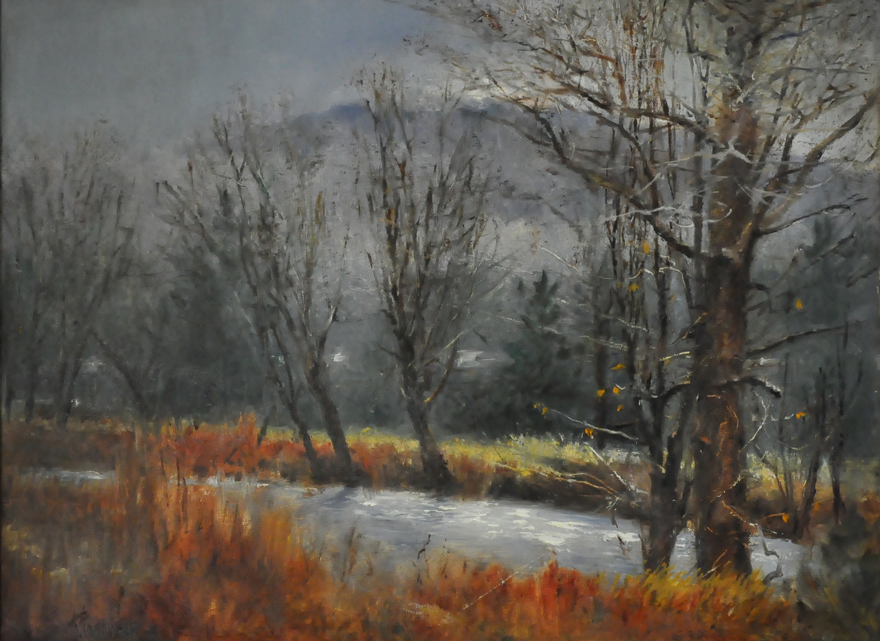 SOLD; Rainy Morning, November Oil on Canvas 18X24 (VT, South of Ludlow)  SOLD    November Heading up north  Toward the mountains In a rainy day A creek runs by the road