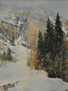 "SOLD; Cliff and Tall Pines, Snowbird, May  (Little Cottonwood Canyon, UT) 24"" x 18"" Oil on Canvas   The magnificent rockface Scattered tall PIne tree Sun peeps through the fog Every once in a while To whisper The beauty of light"