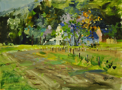 SOLD, Spring on Farm, Simon Farm, Avon CT, Oil on Canvas Brd, 12x16