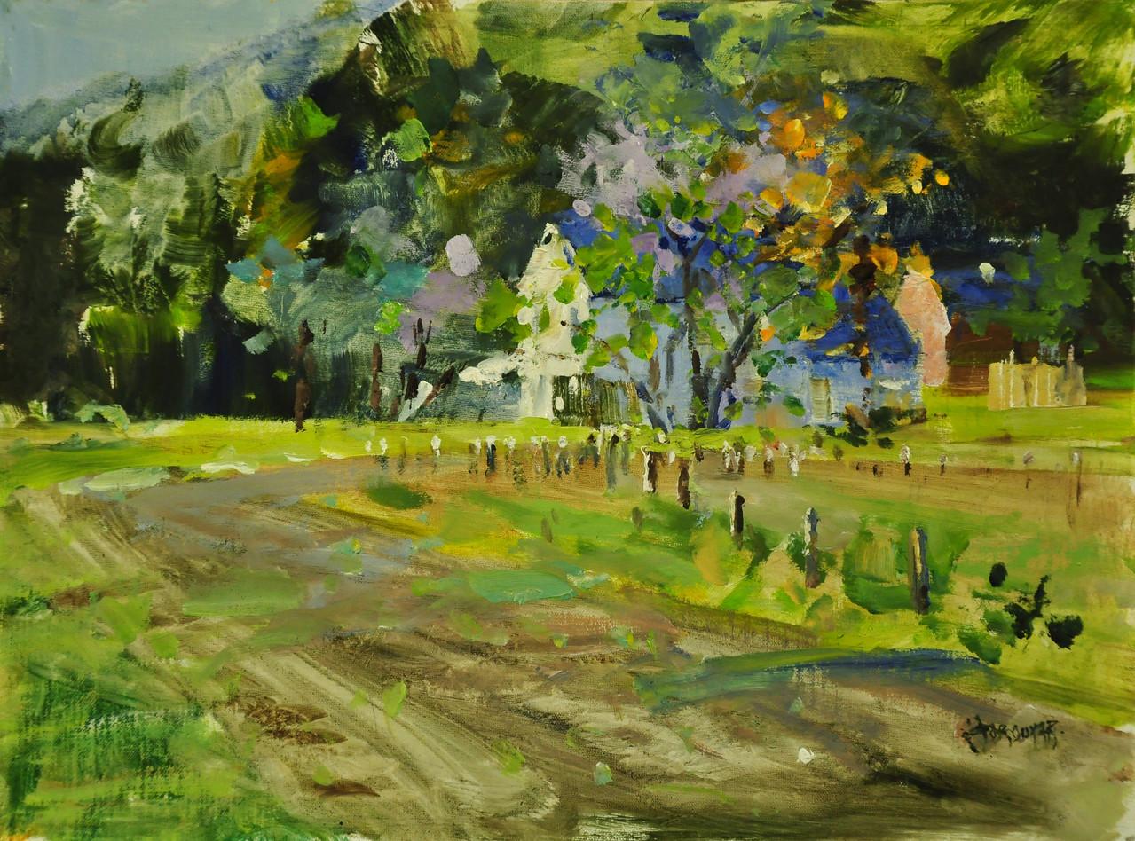 Spring on Farm, Simon Farm, Avon CT, Oil on Canvas Brd, 12x16