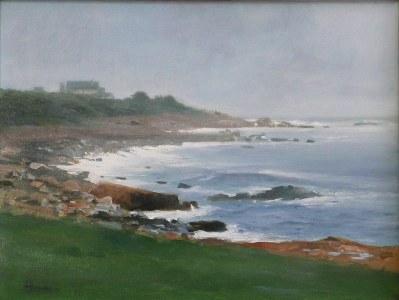 Approaching Fog, November Ocean, Northshore 18X24 Oil on Linen (Gloucester, MA) Miles and miles of northern shore,  Engulfed in the morning fog  Sound of crashing waves on the shorline rock  Muffled No one  there to see