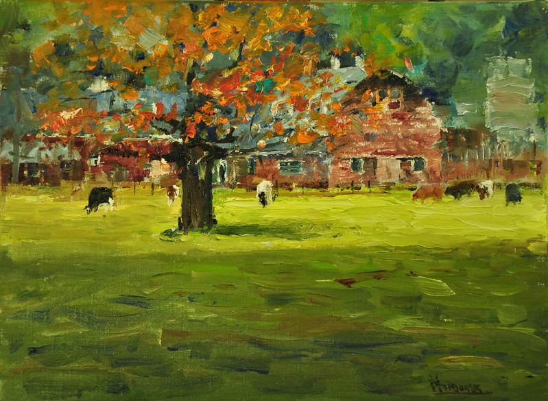 Fall on Farm, Simon Farm, Avon, CT., Oil on Archival Linen Brd, 12x16