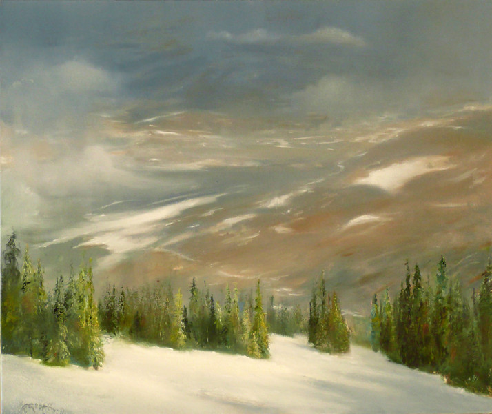 Sun Breaking Through the Morning Fog (High up at theTop of Big  Burn, Snowmass, CO) 20X24 Oil in Canvas  Clouds scatter under the morning sun Receding mist reveals The vast valley beyond  Light  breaks through and pines, glow  It is my first run