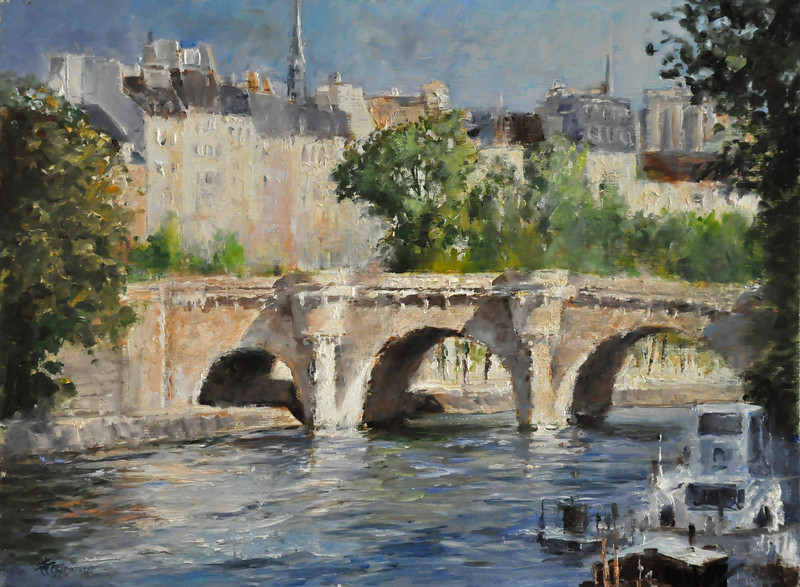 SOLD; Sunny Day in Paris, Pont Neuf (Paris, France) Oil on Linen 12X16 Awards: Recognition, Beaux-Arts Re'alist, Canada  SOLD