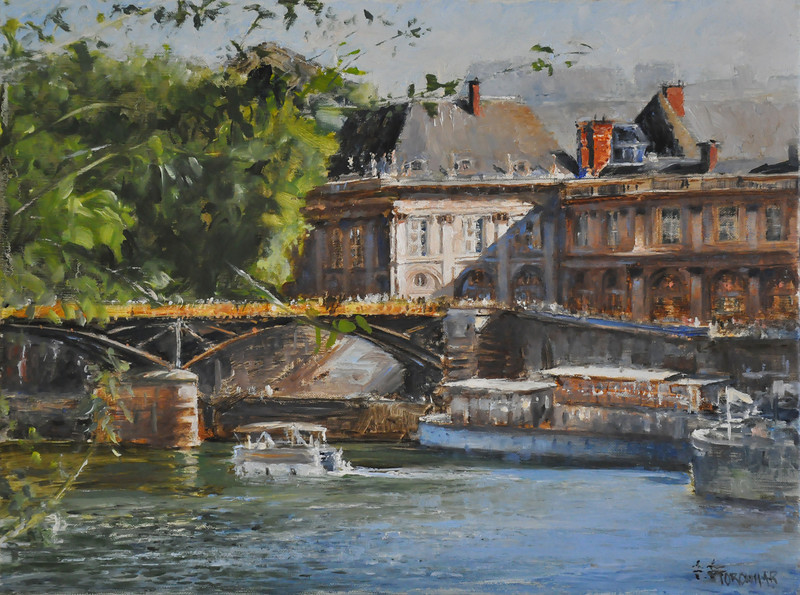 SOLD; Institut Francais on Seine, September  (Paris, France) Oil on Belgian Linen 12X16   Awards: Recognition Award, Beaux-Arts REALISTE, Canada  SOLD  Bustling summer in Paris Full of life and architechral marvel.