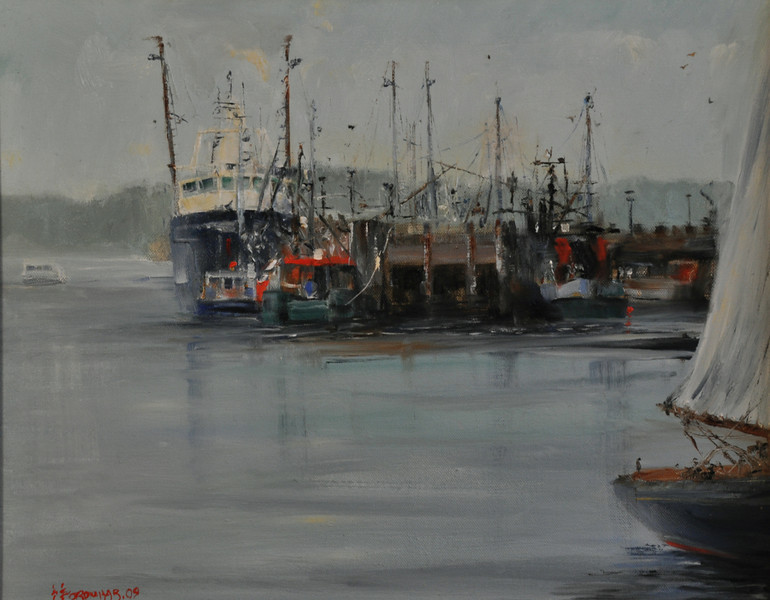 Cripple Cove, Southern View, Goucester Oil on Canvas 16X20 Plein aire  Evening mist sets in  September ocean Fishing boats idle by the dock Sailboats pull in It is a quiet afternoon