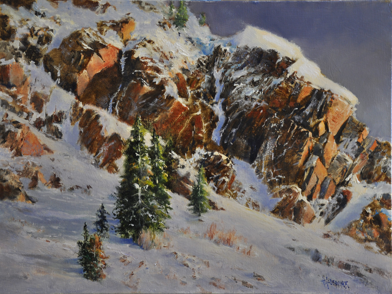 SOLD;  Snow and Rock (Little Cottonwood Canyon, UT) Oil on Linen 18x24 SOLD   Broken face of hard rock hit by he evening sun baked How soft and cool  the snow feels in the warmth of setting sun