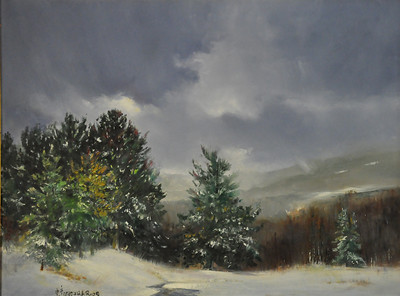 SOLD; Snowdon, Killington, January. 18X24 Oil on Canvas  SOLD  Cold, wet, raw, New Engand morning in ski country, approaching the hills; sun peeping though