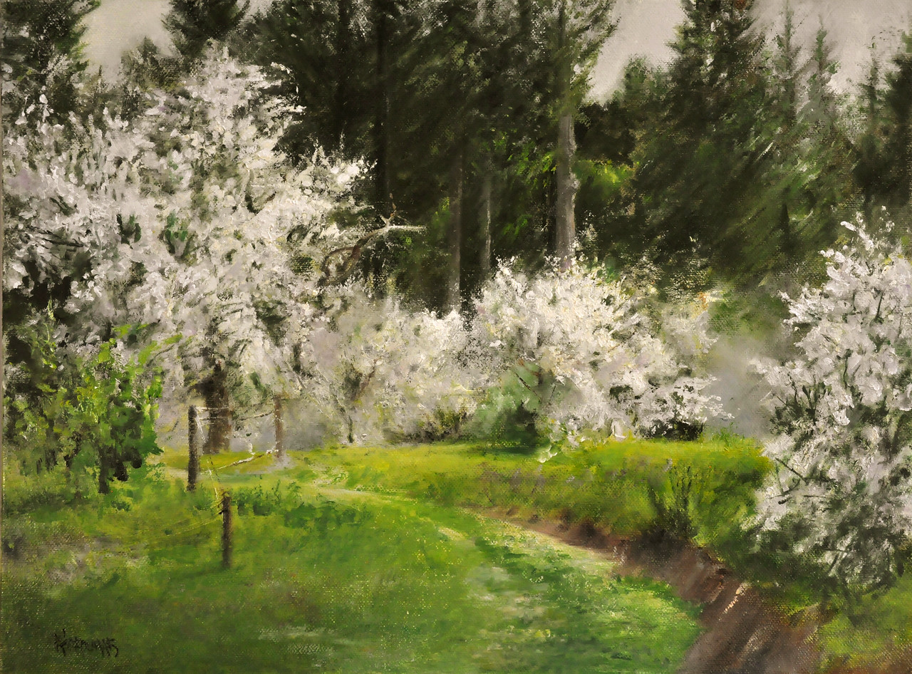 Orchard Wedding in Green and White (Yelm, WA) Oil on Linen 18X24