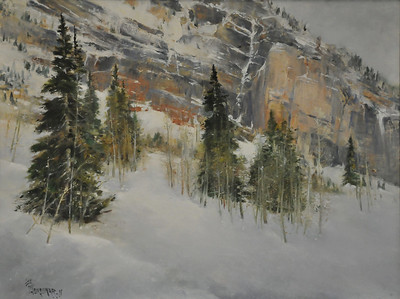 Snowbird (LIttle Cottonwood Canyon, UT, Snowbird, May 2011) 18X24 Oil on Linen  In the mountain whist Cliff head-wall, rambling Scattered pines hide; in the veil of Aspen sapling  In deep snow;  Thin air, not the least;  We were roaming high, in the mountain mist.