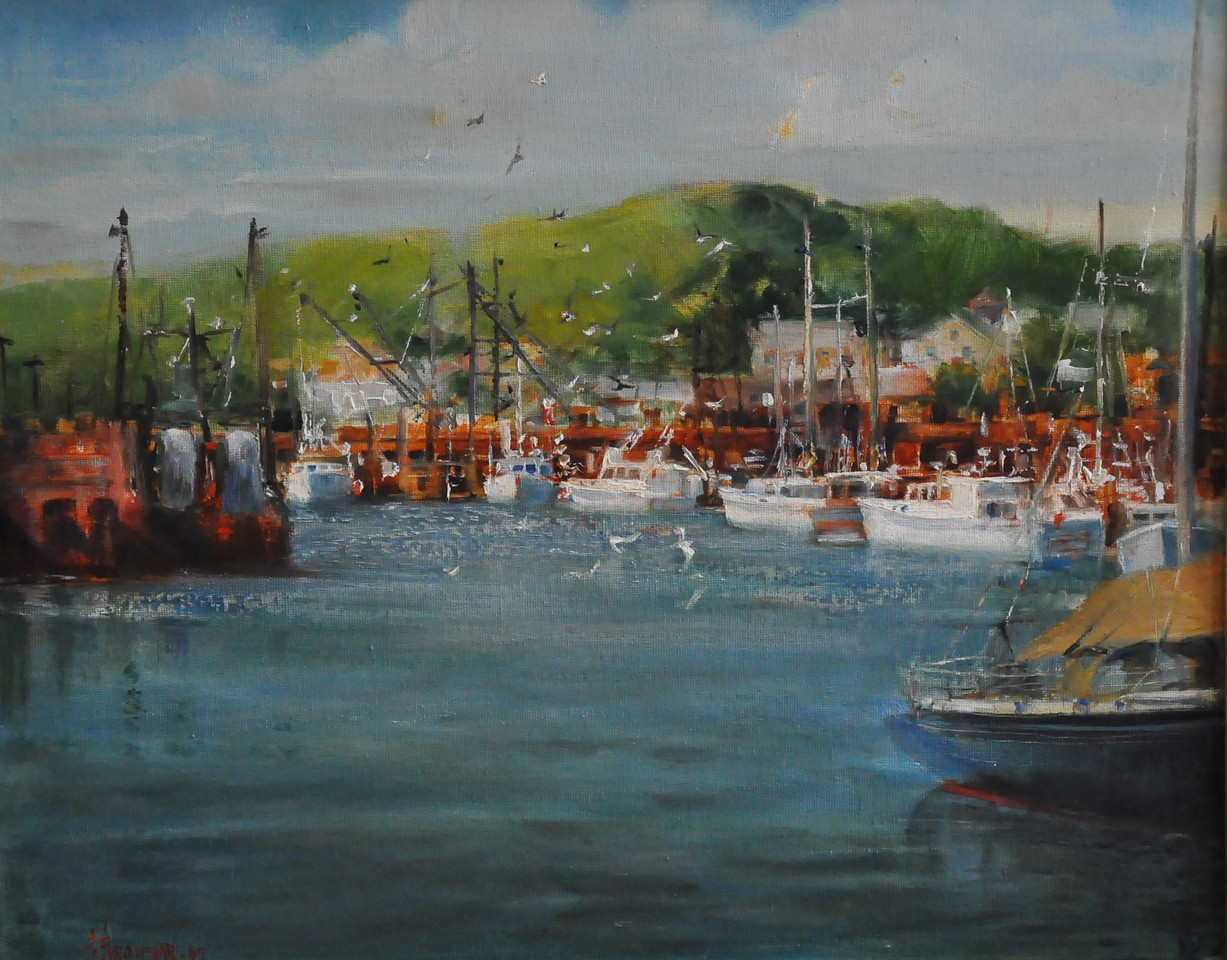 SOLD;  Cripple Cove, South West View, Gloucester. Oil on canvas 16X20   Plein aire
