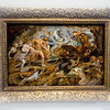 Peter Paul Ruben (Flemish, 1577 - 1640)<br /> <br /> Meleager and Atalanta and the Hunt of the Calydonian Boar, c.1618 - 1619<br /> Oil on Panel<br /> <br /> The subject is derived from Homer's Iliad, but it is widely believed that Rubens' composition is drawn from Ovid's colorful narrative in the Metamorphoses. The goddess Diana takes insult oevr the Calydonian king's failure to pay her tribute during the harvest festival. The avenge herself, she sends a ferocious boar to ravage the land. The king's son Meleager, accompanied by the bravest warriors, seeks to destroy the creature. Atalanta, the beautiful virgin huntress, joins the hunt and becomes the first to wound the boar with her arrow, much to the chagrin of her male competitors.<br /> <br /> In this oil sketch, or modello, Atalanta shoots an arrow at the deadly boar while Meleager prevents the animal's escape with his spear Rubens imparts a sense of immediacy through the use of rapid and spontaneous brushstrokes. Such a vigorous technique typifies the lively flavor of the Baroque style and distinguishes the modello from the larger, finished painting in the Kunsthistorisches Museum, Vienna.