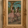 Edgar Degas (French, 1834 - 1917)<br /> <br /> Dancers in Pink, c. 1866<br /> Painted on paper, mounted on cardboard<br /> <br /> By the time Edgar Degas executed Dancers in Pink, the artist had already been working with medium of pastel for two decades. Degas's advanced technical facility is reflected in his handling of the chalk, from the solidly modeled figures in the foreground to the ethereal quality of the feathery background landscape. The progression of focus from front to back is made even more acute by the fine outlines of the dancers' fingers and tulle. As their left arms raise and their left feet point forward, the featured ballerinas appear to be but two in a succession performing before a wooded backdrop. The color of the landscape, too, reflects Degas's tremendous skill, as the daring yellows, greens, blues and oranges put forth a remarkably subtle woodland scene. Shortly after it was completed, the pastel entered the collection of Henri Lerolle, a painter and amateur musician. Its exceptional quality was asserted by Degas's colleague Pierre-Auguste Renoir, who included it in the background of his portrait of Lerolle's two daughters.