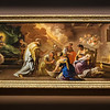 """Luca Giordano (Italian, 1632 - 1705)<br /> <br /> Birth of the Virgin, c. 1696 - 1698<br /> Oil on Canvass<br /> <br /> Gifted with a brilliant imagination and virtuoso technique, Luca Giordano became one of the most important painters in Italy by the second half of the seventeenth century. Nicknamed """"Fa Presto"""" (make haste), he had the ability to paint an altarpiece in a day and reputedly decorated the dome of San Martino, Naples, in 48 hours.<br /> <br /> Giordano's late work anticipates the light, airy style of the Rococo, as demonstrated here in the free and painterly brushwork, rhythmical composition and luminous palette of Birth of the Virgin. The composition is organized along a horizontal format in two tiers - Joachim, the attendants and the Infant Virgin in front, and Anne with her helpers slightly elevated in the left middle ground. The room is suffused with a warm, celestial light,flowing down in a bold diagonal toward the newborn. During his long life Giordano had many followers and pupils. As a great innovator of the decorative style of the eighteenth century, he played an important role in the early development of Francesco Solimena and Francisco Goya."""