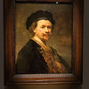 Rembrandt van Rijn (Dutch, 1606 - 1669)<br /> <br /> Sel-Portrait, c. 1636 - 38<br /> Oil on panel<br /> <br /> Rembrandt was his own favorite model, and there is no moment in his biography that he did not vividly represent. He portrays himself here in the characteristic beret that had been associated with the artistic milieu since the sixteenth century. The chain around his neck was a symbol of prestige awarded to artists, often by a noble patron. The combination of elegant attire and artist's attributes elevates Rembrandt to the status of a fine artist. The distinction was important at a time when artists were only beginning to realize their social standing among the creative elite.