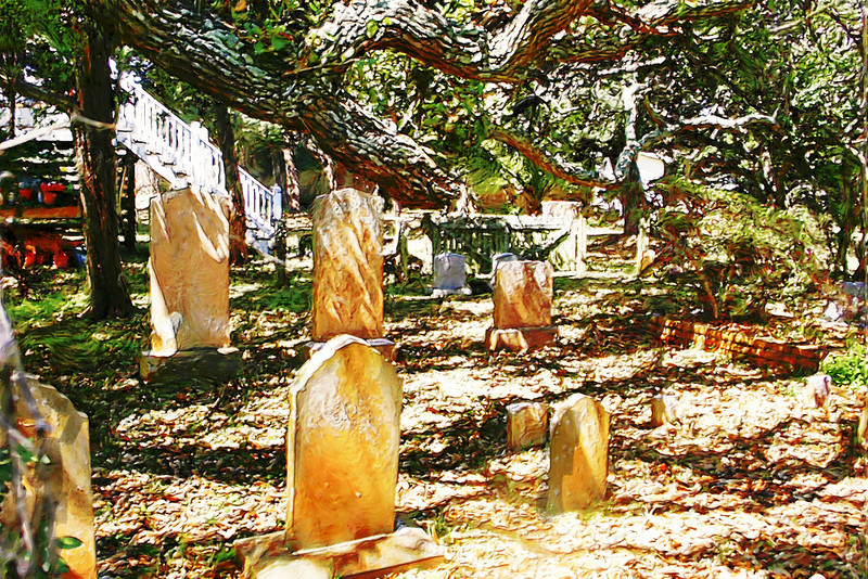 One of the many graveyards found among the pathways between historic Ocracoke homes. This one was viewed from the backyard of Crew's Inn.