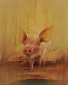 """Piglet"" 16X20 Oil on Canvas Price: $ 600.00  Limited Edition Print: $  170.00 Lustre/Unframed Limited Edition Print / Gallery Block (Finished edge) $ 220.00"