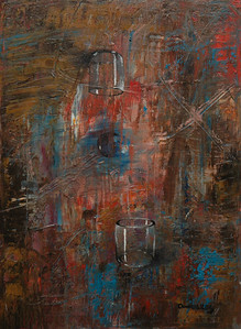 """""""Empty glass cups"""" 8X10 Oil on Canvas / SOLD  Limited Edition Print: $  170.00 Lustre/Unframed Limited Edition Print / Gallery Block (Finished edge) $ 200.00"""