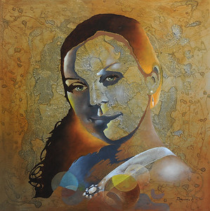 """Olga"" 24X24 Oil on Oak with Metallic Base / SOLD"