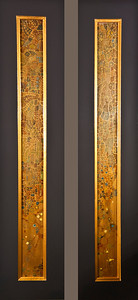 """Abstract elements"" 7X34 / 2 pieces / Metallic Paint on Cabinet Doors Price: $ 600.00 (Two Pieces)"