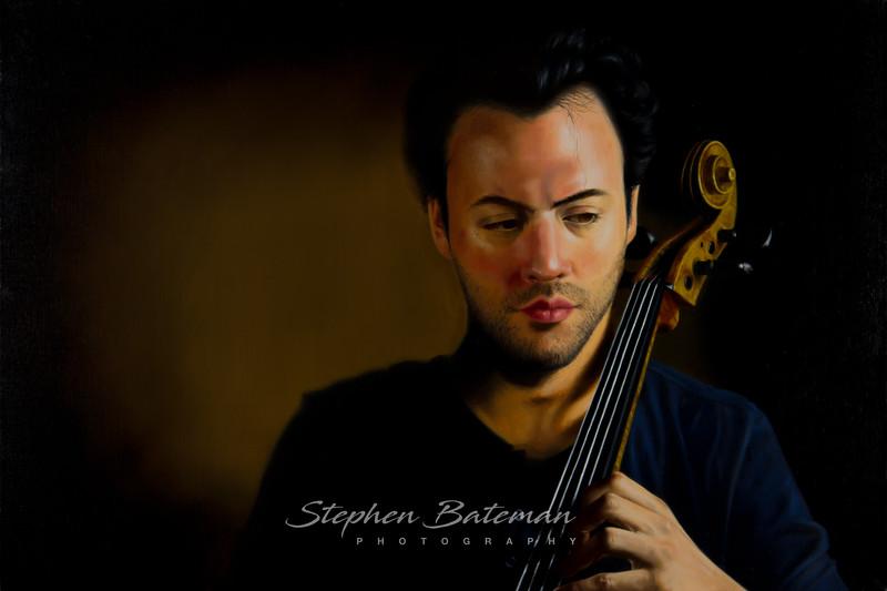 Eric, Cellist, Colombari, oil on linen