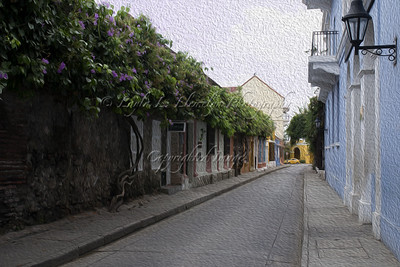 Street of the walled city of Old Cartagena in Colombia