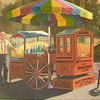 Gus and Yia Yia's<br /> <br /> Here's the final painting.  I did keep the background more muted and old time photoesque.<br /> The popcorn and shaved ice stand it still there!<br /> Don't you think it's time for a visit?<br /> <br /> <br /> Medium: Acrylic on Canvas