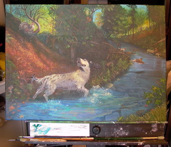 "Pointer Paradise - Finished Piece<br /> <br /> This completes the Pointer Paradise painting.<br /> The size is 18"" x 24"".<br /> I've begun the scan process and will create giclees and a few other test products to sell.<br /> <br /> <br /> Medium: Acrylic on Canvas"