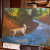 Let's Bring In More Points of Interest<br /> <br /> You'll see I'm adding more wildlife and terrain detail.  I've added a few grouse, two brook trout,  and  two deer in the background.  I'll be adding some bugs and other elements to fill out the painting.<br /> <br /> When I actually began this painting, I had done a small watercolor of it to lock down a vivid color scheme to hold myself to.   Both with this painting and the one of 'Brandie' the black lab, I wanted richness and 'fun'.  I realize that these two beautiful species of animals are bred for hunting, but when you see someone or some creature in its most happiest state of being, well.....isn't it just delightful ?  Inspiring, joyful ?<br /> Wouldn't you just love to be able to give that to the people and animals that you care for ?<br /> I feel quite honored to be able to create a 'haven' or 'heaven' for Scotchie.  While I dwell on what to name this art piece, the words 'haven' and 'heaven' keep coming up, so perhaps:  'Grouse Haven' or 'Heaven' ....or 'Scotchie's Haven'.<br /> <br /> Medium:  Acrylic on Canvas