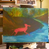 Painting with Autumn Colors<br /> <br /> I start with painting a glow at the far hillsides, and add my woodland and its creatures as I come to the foreground.  I'll be making a change to the composition by adding our black lab Brandie as a final tribute to her.  She did have a knack for bounding onto the scene just in time to scatter the wildlife.  <br /> <br /> Medium:  Acrylic on Canvas