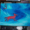 Adding Background Color<br /> <br /> I start to fill in the background, again, in one color, it helps get the idea of how I want to 'light' my painting and puts the various elements of the painting into position.<br /> <br /> I'll use charcoal to rough in some additional animals, foliage... and after collecting some other reference materials am ready to go full color.<br /> <br /> Medium:  Acrylic on Canvas